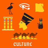 Ancient Egypt travel and culture flat icons Royalty Free Stock Images