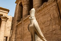 Ancient Egyptian Architecture Ruins. Hieroglyphs And Columns Of The Temple Of Horus At Edfu, In Egypt Royalty Free Stock Images