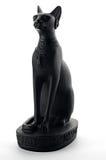 Ancient egyptian black cat statue - souvenir. White background royalty free stock photo