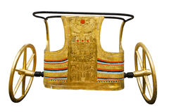Ancient Egyptian ceremonial chariot. Isolated with clipping path. Modern copy inspired by those found in the tomb of Tutankhamun Stock Photos