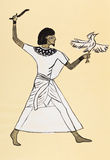 Ancient Egyptian costume of hunter Stock Image