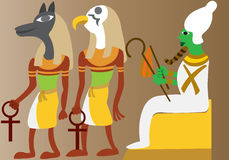 Ancient Egyptian deities. A linear representation of ancient Egyptian gods Royalty Free Stock Images