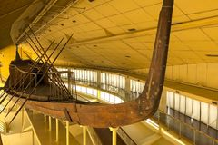 Ancient Egyptian galley. Ancient ships in the museum stock photo
