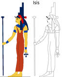 Ancient Egyptian goddess - Isis. Isis was a goddess in Ancient Egyptian religious beliefs, whose worship spread throughout the Greco-Roman world. She was Stock Images