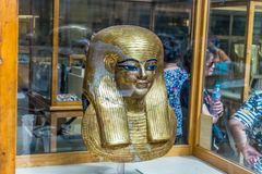 Ancient Egyptian golden mask of Yuya, Museum of Cairo royalty free stock image