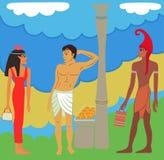 Ancient Egyptian-Greek market negotiations Stock Photo
