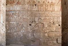 Ancient Egyptian hieroglyphic bas-relief. Hieroglyphic bas-relief in Medinet Habu ancient temple, Egypt, Hatshepsut Stock Images