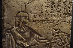 Ancient Egyptian hieroglyphic bas-relief. Exhibited in the Egyptian museum - Vantican Royalty Free Stock Images