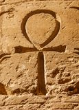 Ancient egyptian hieroglyphic symbol Ankh. `Key of Life`, `Eternal Life`, `Egyptian Cross` carved on the stone royalty free stock photos