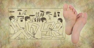 Ancient Egyptian Hieroglyphics of Reflexology Royalty Free Stock Image