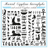 Ancient Egyptian hieroglyphs and symbols Royalty Free Stock Photo