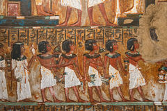 Ancient Egyptian mural painting Stock Images