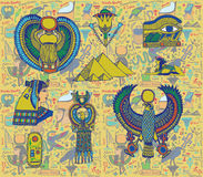 Ancient Egyptian objects set on pattern. Royalty Free Stock Images