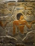 Ancient Egyptian painted relief stone freeze Stock Photography