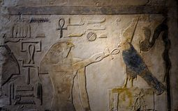 Ancient Egyptian painted relief stone sculpture Royalty Free Stock Images