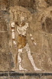 Ancient Egyptian painting. Details of an ancient Egyptian painting on a stone wall at the Mortuary Temple of Hatshepsut royalty free stock photos