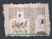 Ancient egyptian papyrus with boat and hieroglyphs. Ancient egyptian papyrus with nile boat, goddess and hieroglyphs Royalty Free Stock Image