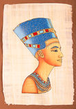 Ancient Egyptian Papyrus Nefertiti Stock Photography
