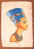 Ancient Egyptian Papyrus Nefertiti. Portrait hand made illustration Stock Photography