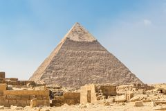 The ancient Egyptian Pyramid of Khafre in Cairo, Egypt stock photos