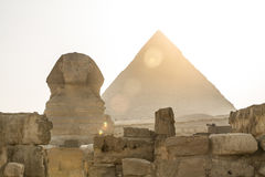 Ancient Egyptian Pyramid of Khafre Giza and Great Sphinx. Natural evening light, no colour saturation Stock Photos