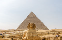 Ancient Egyptian Pyramid of Khafre and Great Sphinx Stock Photos