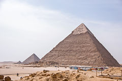 Ancient Egyptian pyramids of Giza against blue sky Stock Photo