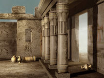 Ancient Egyptian ruins. Fantasy ancient Egyptian ruins with pottery Stock Photo