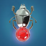 Ancient Egyptian Scarab precious glossy with gem orb isolated render Stock Photo