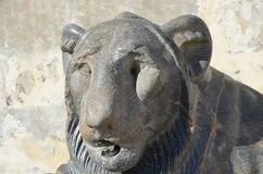 Ancient egyptian sculpture of Lion of Nectanebo Stock Photography