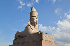 Ancient Egyptian sphinx in St. Petersburg against the blue sky Royalty Free Stock Photo
