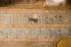 Ancient Egyptian Taurus Symbol. Astrological ceiling at the Ancient Egyptian temple of Abydos.  The symbol of Taurus the Bull is towards the centre of the image Stock Photo