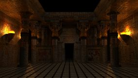 Ancient Egyptian Temple. In night environment with torches. Highly detailed and accurate illustration of uniquely design of a temple with Egyptian theme Royalty Free Stock Photography