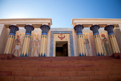 Ancient Egyptian temple - columns on each side Royalty Free Stock Images