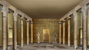 Ancient Egyptian Temple Indoor. Digital painting of the hall of Ancient Egyptian Temple with columns and mural. Long shot Stock Images