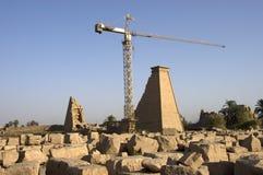 Ancient Egyptian Temple of Karnak Renovation Stock Photo
