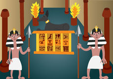 Ancient Egyptian Treasure. Ancient Egyptian Guards standing at a tomb entrance guarding its treasure Stock Image