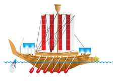 Ancient Egyptian warship. Stock Photos