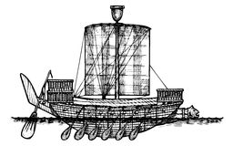 Ancient Egyptian warship. Stock Image