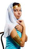 Ancient Egyptian woman - Cleopatra. Pretty woman in egyptian queen costume. Isolated on white Royalty Free Stock Photos
