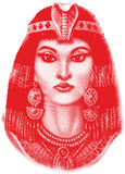 Ancient Egyptian woman. Portrait of woman in headgear and jewelry of ancient Egypt royalty free illustration