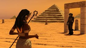An ancient Egyptian woman watching a man from space Stock Photos