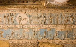 Ancient Egyptian Zodiac ceiling showing Pisces. The ancient Egyptian carved and painted ceiling at Dendera Temple, near Qena.  Celestial symbols including the Royalty Free Stock Image