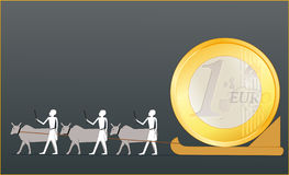 Ancient Egyptians driving the EURO coin. Ancient Egyptians driving big EURO coin stock illustration