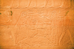 Ancient Egyptians killed goat for meat on relief of Egyptian Museum Royalty Free Stock Photography