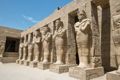Ancient egyption statues in Luxor karnak temple.  stock photo