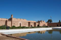 Reflections in a pond in a palace in Morocco royalty free stock images