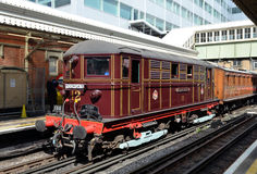 Ancient electric locomotive. London, Hammersmith - August 11, 2014 : London Transport Museum celebrates 150 years of the Hammersmith & City Line with Heritage Royalty Free Stock Photography