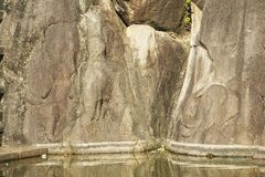 Ancient elephants pond carving in Isurumuniya rock temple in Anuradhapura, Sri Lanka. Stock Photos