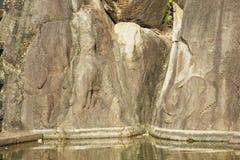 Ancient elephants pond carving in Isurumuniya rock temple in Anuradhapura, Sri Lanka. Stock Photos